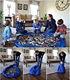 EachWell Large 60 Inch Toy Storage Bag Play Mat Toys Organizer Blue