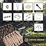 Survival Kit - Survival GRENADE Emergency Key Chain Survival Kit - Paracord Grenade Survival Kit with 8+ Tools + Fire Starter & Eye Knife (Black)