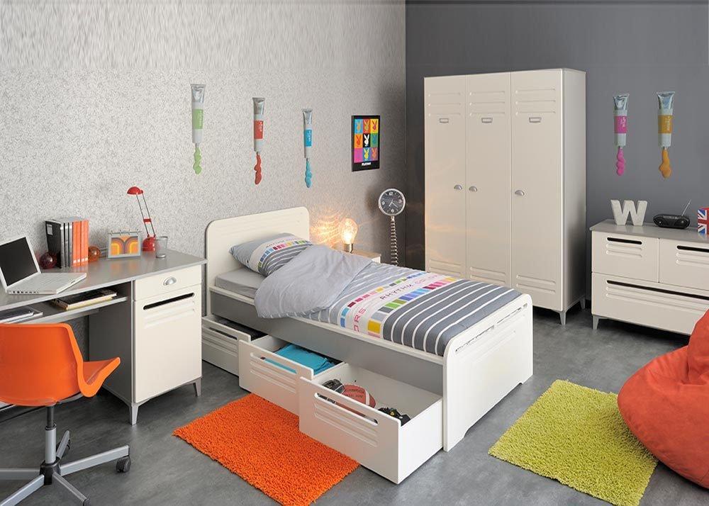 Jumbo-Möbel Kinderzimmer FACTORY 1 in Weiß & Grau / Silber von Parisot, Komplettset günstig bestellen