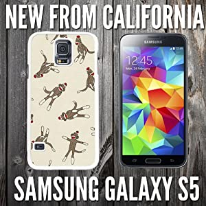 Monkey Sock Pattern Custom made Case/Cover/skin FOR Samsung Galaxy S5 - White - Plastic Snap Case ( Ship From CA)