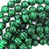 "12mm malachite round beads 15.5"" strand"