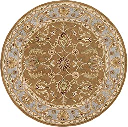 Brown Rug Traditional Design 6-Foot Round Hand-Made Traditional Wool Carpet
