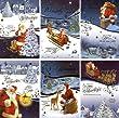 50 Weihnachtskarten - 6 Motive - Klappkarten - Grußkarten mit 50 Umschlägen Glückwunschkarten Weihnachtsmann Schnee Winter Sortiment 22-4420