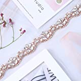 Bridal Wedding Appliques 1 Yard Sewn Iron on Rhinestone Belts Sashes Sparkle Thin lightweight for DIY Women Dress Clothing Headbands Headpieces Garters Tiaras Veils Hats Shoes Bags - Rose Gold (Color: Rose Gold-2)