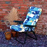 Garden Recliner Green Chair with Luxury Cushion - Spring Flowers