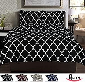 Queen Printed Duvet-Cover-Set Black - Brushed Velvety Microfiber - Luxurious, Comfortable, Breathable, Soft & Extremely Durable - Wrinkle, Fade & Stain Resistant By Utopia Bedding (Queen, Black)
