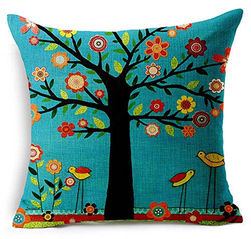 Oil Painting Black Large Tree and Flower Birds Cotton Linen Throw Pillow Case Cushion Cover Home Sofa Decorative 18 X 18 Inch (black) (colorful)