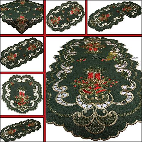 Runner centrotavola, verde Scuro, Tovaglia rossa, con candele ricamate, motivo: Natale, diverse Misure, Poliestere, verde, 45 cm x 110