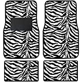 A Set of 4 Universal Fit Animal Print Carpet Floor Mats for Cars / Truck - Zebra White Tiger