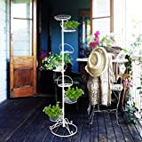White 7 Holder Tall Tree Plant Planter Pole Stand Flower Tower Display Metal for Indoor Greenhouse and Garden use