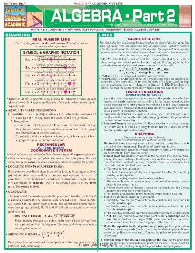 Algebra - Part 2 (Quick Study Academic)