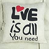 Okbool 18 X 18 Inch Simple Square Cotton Linen Home Sofa Decorative Throw Pillow Case Cushion Cover(love Is All You Need)