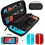 Nintendo Switch Case and Tempered Glass Screen Protector, Deluxe Hard Shell Travel Carrying Case with 20 Game Cartridge, 2pcs HD Screen Protector, 2 Pair Joy-Con Silicone Shell for Switch Console