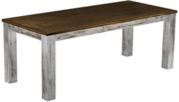 """Brasil mobili tavolo da pranzo """"Rio 208x 90cm, Legno di Pino massiccio, stile Shabby Colore Sx, Rovere anticato"""