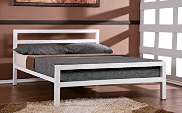 City Block 5ft King Size White Modern Metal Bed Frame and Deluxe Coil Sprung Mattress