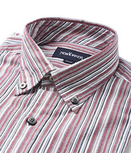 (ニューヨーカー)NEWYORKER マルチストライプ / ボタンダウンスポーツシャツ 11769706  10レッド L