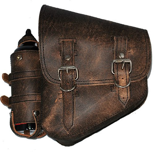 La Rosa Harley-Davidson Softail Chopper Rustic Brown Leather Left Saddle Bag with Extra Fuel Gas Bottle (Saddlebag Gas Can compare prices)