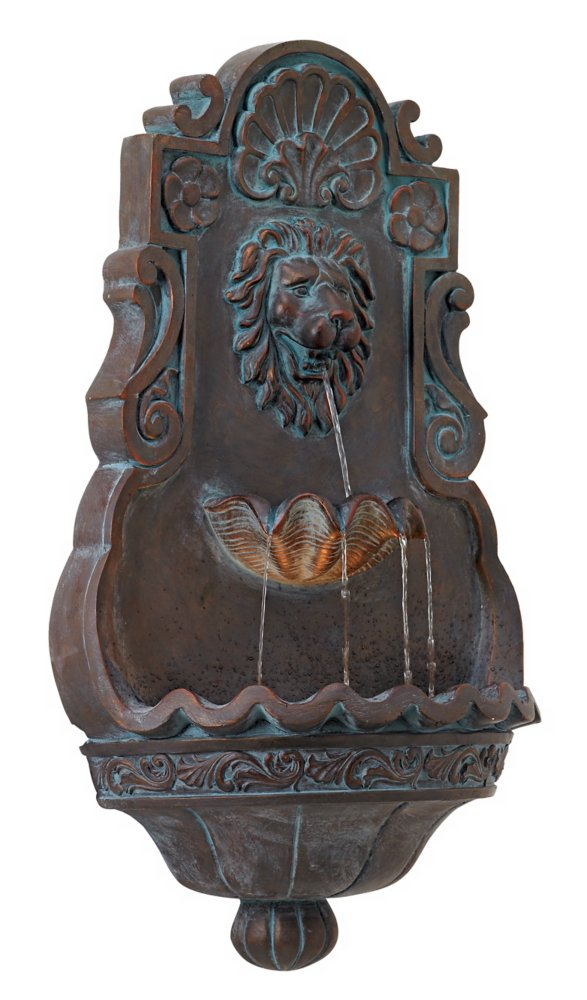 "Lion Head Iron - Bronze 31 1/2"" High Indoor Outdoor Fountain"