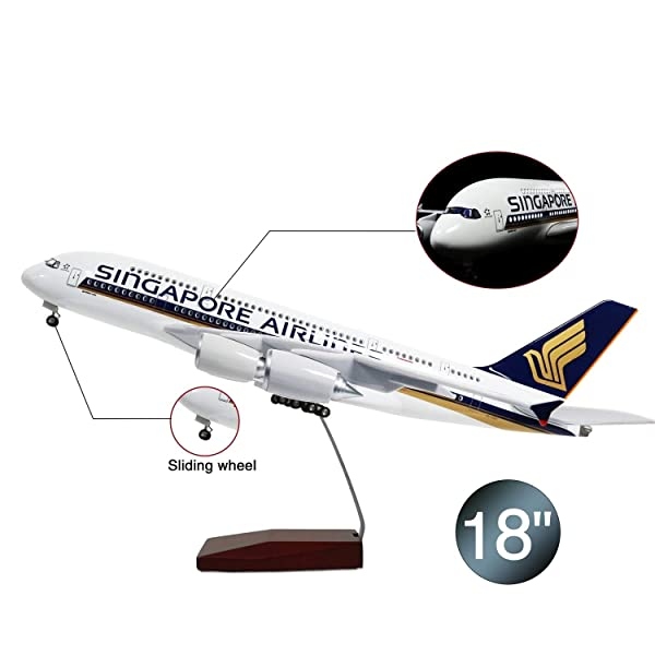 Lose Fun Park Singapore A380 1:160 Model Airplane with LED Light and Landing Gear (Color: 1/160 Singapore 380)