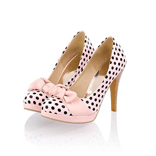 Charm Foot Fashion Wave Point Bows Womens Platform High Heel Stiletto Mary Jane Pump
