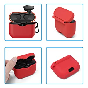 Red Upgraded One-Piece Anti-Lost /& Shockproof Earbud Protection Pouch//Silicone Case Cover with Keychain Compatible with Sony Earphone Silicone Cover Case for Sony WF-1000XM3 Wireless Earbuds