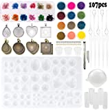 Sthabt - 107pcs Silicone Resin Jewelry Casting Mold with Glitter and Flower Decoration DIY Artcraft Project Gift Pendant Making Tools Set for Beginners (Tamaño: 107pcs)