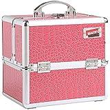 Beautify: Magnifique mallette professionnelle cosmétique en motif crocodile rose
