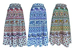 PMS Cotton Multi Color Wrap Around Woman's Skirts Combo Pack Of 3 (Assorted Design & Assorted Color)
