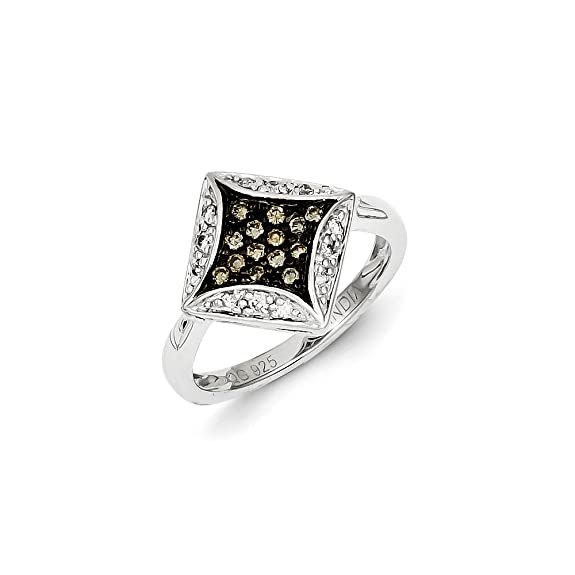 Black Bow Jewellery Company : 1/3 Ctw Champagne & White Diamond Rhombus Ring In Sterling Silver