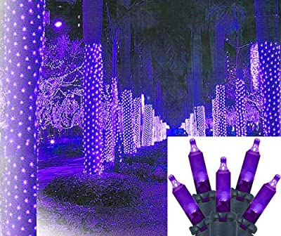 2' x 8' Purple LED Net Style Tree Trunk Wrap Christmas Lights - Green Wire