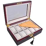 Yescom 10 Slot Wooden Watch Display Case Glass Top Jewelry Collection Storage Box Organizer Ebony Wood (Color: 10 Slots Ebony Wood)