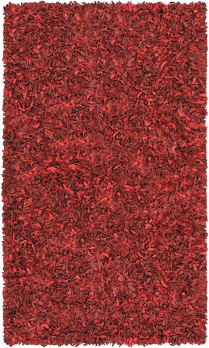 Red Leather Shag Rug