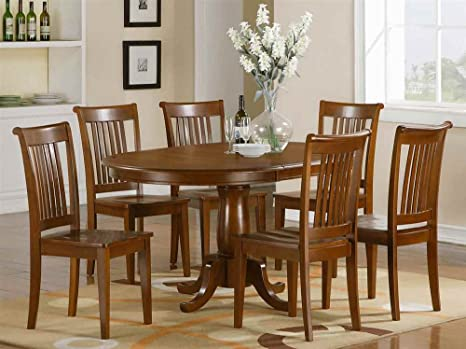 7-Pc Oval Dining Set in Saddle Brown Finish