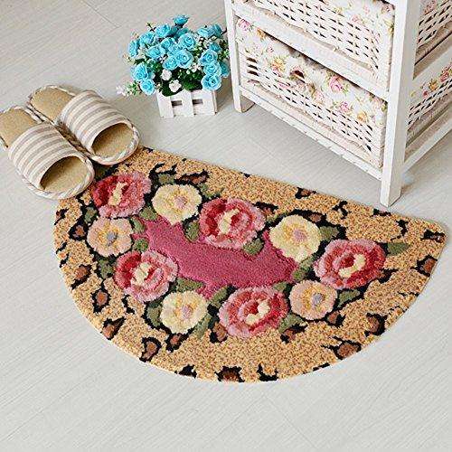 Semi-circular cut flower mats/Bedroom kitchen bathroom water-absorbing mats/Entrance mat-A 50x80cm(20x31inch)