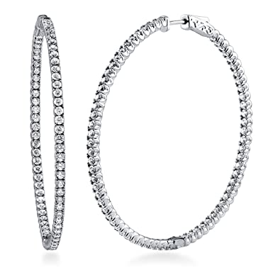 BERRICLE Rhodium Plated Sterling Silver Cubic Zirconia CZ Fashion Inside-Out Hoop Earrings 2.2""