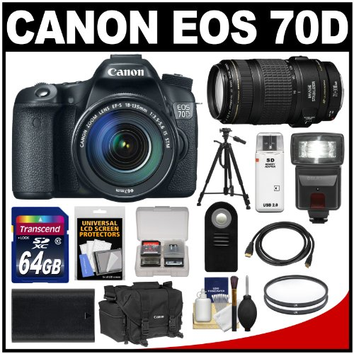 Check price for Canon EOS 70D Digital SLR Camera & EF-S 18-135mm IS STM with 70-300mm IS Lens + 64GB Card + Battery + Case + Filters now !!