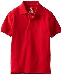 Nautica Big Boys\' Uniform Short Sleeve Pique Polo Shirt, Red, Small(8)