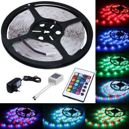 LED Light Strips 16.5 ft/5 m - 300 LEDs + 24 control keys - w/ power supply - w/ fitted UK adapter