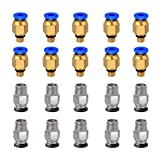 Ewigkeit PC4-M6 Straight Pneumatic Fitting Push to Connect + PC4-M10 Quick in Fitting for 3D Printer Bowden Extruder (Pack of 20pcs)