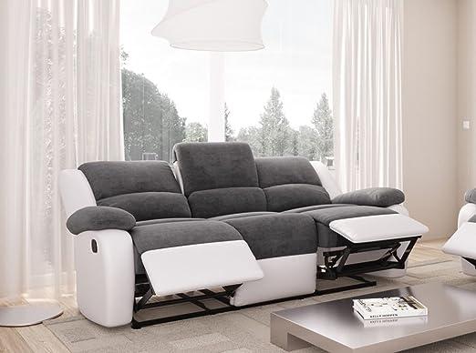 Relax canapé de relaxation en simili et tissu 3 places - 190x93x96 cm - gris et blanc