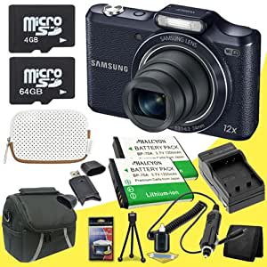 Samsung WB50F 16.2MP Smart WiFi &NFC Digital Camera (Black) + Two BP-70A Replacement Lithium Ion Batteries + External Rapid Charger + 4GB microSD Memory Card + 64GB microSD Memory Card + SDHC Card USB Reader + Memory Card Wallet + Deluxe Starter Kit DavisMax Bundle