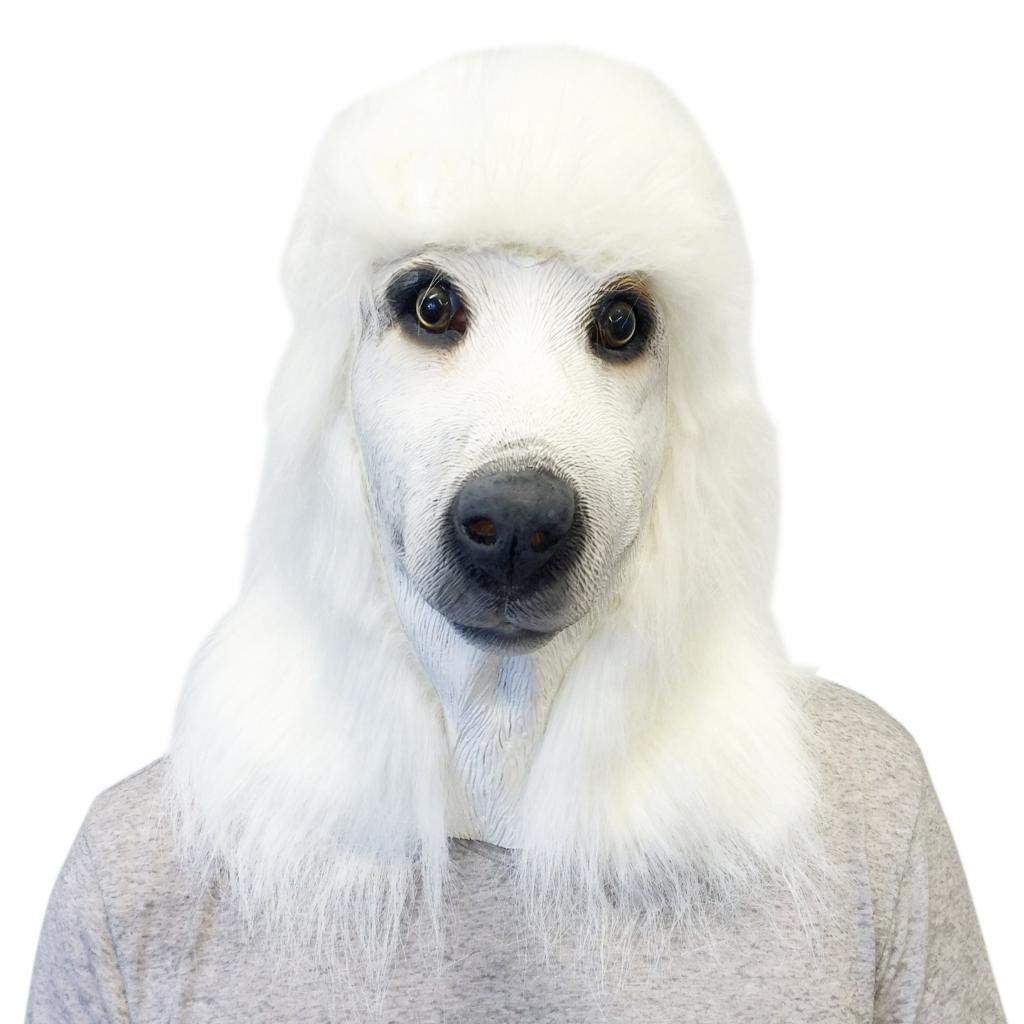 White Standard Poodle Face Mask