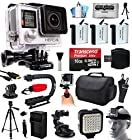 GoPro HERO4 Hero 4 Black Edition 4K Action Camera Camcorder with Ultimate Accessory Bundle includes 16GB MicroSD + 3x Extra Batteries + Home & Car Charger + Card Reader + Large Case + Action Stabilizer Hand Handle + Full Size Tripod + Car Suction Cup Mount + LED Video Light + Head Helmet Strap + Dust Cleaning Kit (CHDHX-401)