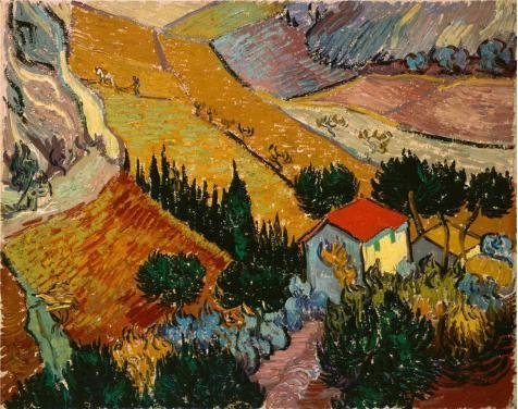 The High Quality Polyster Canvas Of Oil Painting 'Landscape With House And Ploughman,1889 By Vincent Van Gogh' ,size: 10x13 Inch / 25x32 Cm ,this Amazing Art Decorative Prints On Canvas Is Fit For Bar Decoration And Home Gallery Art And Gifts