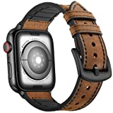 Mifa Hybrid Leather Sports Band Compatible with Apple Watch Vintage Dressy Bands Dark Brown Replacement Straps Sweatproof iwatch Series 4 1 2 3 Nike Space Black Grey 42mm 44mm Men (42mm/44mm - Brown) (Color: Brown, Tamaño: 42mm / 44mm)