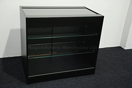Shop Counter with Glass Black Matt / Ref:0318