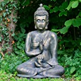 Classic Large Buddha Statue / Quality Garden Statue With Aged Bronze Effect Finish
