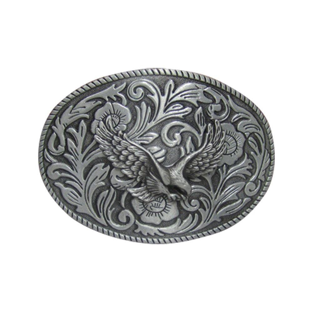 E-Clover Vintage Men's Western Eagle Belt Buckle Cowboy Engraved Oval Belt Buckles 0