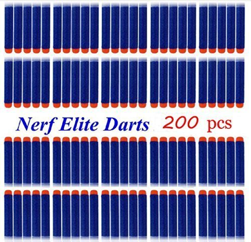 Refill Pack 200pcs Toy Gun Bullet Darts Round Head for Children Blasters Nerf N-strike (Blue) - 1
