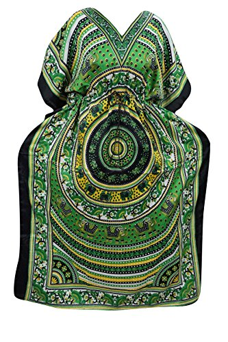 Indiatrendzs Women's Long Animal Print Boho Green Kaftan Dress With Dori At Waist  available at amazon for Rs.386